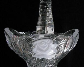 Vintage Anna Hutte Bleikristall Germany 24% Lead Crystal Basket in The Rose Pattern, Vintage Bleikristall, Vintage Anna Hutte Lead Crystal,
