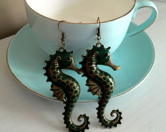 Anitque Look Seahorse Earrings