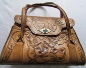 RESERVED FOR KATE Handbag purse with gorgeous tooled roses and leaves  2c-106