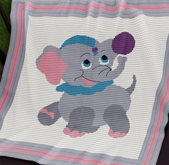 Crochet Pattern Baby Blanket Pattern Circus Baby Elephant