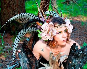 Roaring 20s Tribal Feather Headdress, Flower Heddress, Extra Long Feather Headband, Festival Wear, Burningman, Cosplay, Costume
