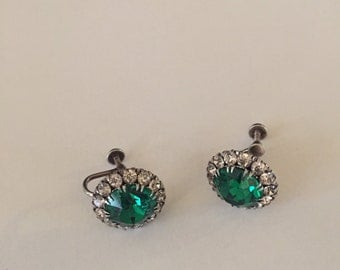 Vintage 1950 Sterling earrings emerald green