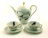 Peter Pan Tea Coffee Set Altered Pot 2 Cups Silhouettes Unique Vintage Porcelain Tinkerbell J. M. Barrie Brown Sugar White