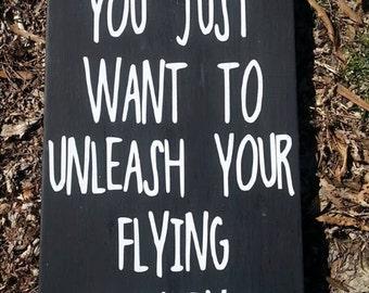 "12 x 24 inch Wooden ""Flying Monkeys"" Sign"