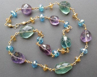 Necklace, amethyst and fluorite gemstone nugget gold plated