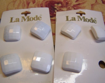 "Vintage 3/4"" White Square Faceted Buttons, Set of 7 (943)"