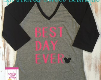 Best Day Ever Pink Mickey Mouse Ears Inspired Raglan Baseball Shirt Custom Women Girls Shirt Family Perfect for a Disney World Trip