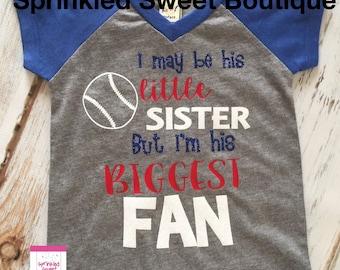 Glitter Baseball I'm His Little Sister But His Biggest Fan Baseball Raglan Shirt Girls Womens Custom Change Wording