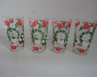 Vintage Merry Christmas Happy New Year Glassware Merry Christmas Happy New Year Princess House Barware Set of 4 Christmas Tumblers
