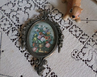 Pieces-Vintage Ornate Oval Metal Italian/Italy Florentine Picture Frame/Wall Hanging-X3
