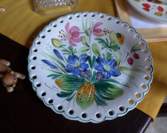 Vintage Italian/Italy  Pottery Handpainted Cake/Bakery Serving Plate-Reticulated Edge-Multi Colored Floral-Green Trim
