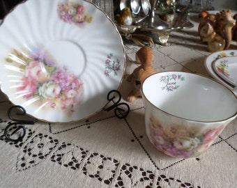 Vintage Lefton China-June-Month Porcelain Tea Cup and Saucer Set