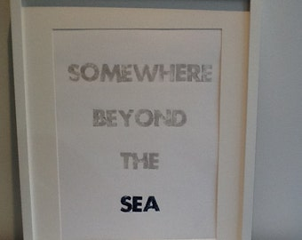 Clearance Sale! Somewhere Beyond the Sea Letterpress Print
