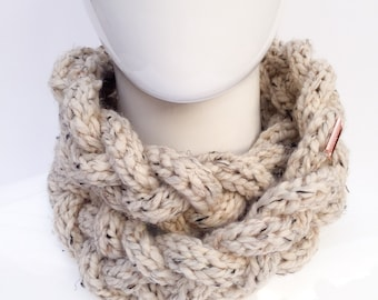 Braided Knit Scarf, Knit Cowl, Knit Infinity Scarf, Knit Neck Warmer, Winter Accessories, Cream, Oatmeal, Christmas Gifts, Gifts under 30