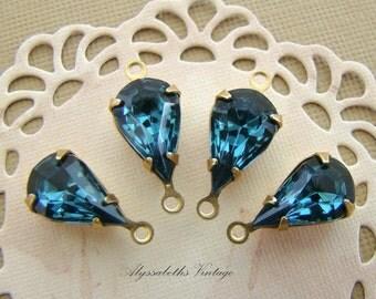 Vintage Montana Blue Swarovski Teardrop Rhinestones 13x8mm Glass Stones Brass Drop or Connector Settings - 4