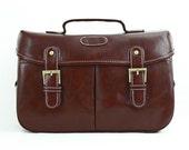 C111 Chocolate PU Leather Camera Bag w/ Shoulder Strap