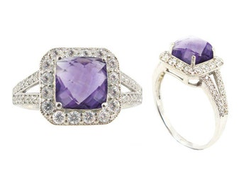 Amethyst Ring. Sterling Silver Ring with Square Amethyst and Round White Topaz Stones. Available in US Ring Sizes 5 - 12.