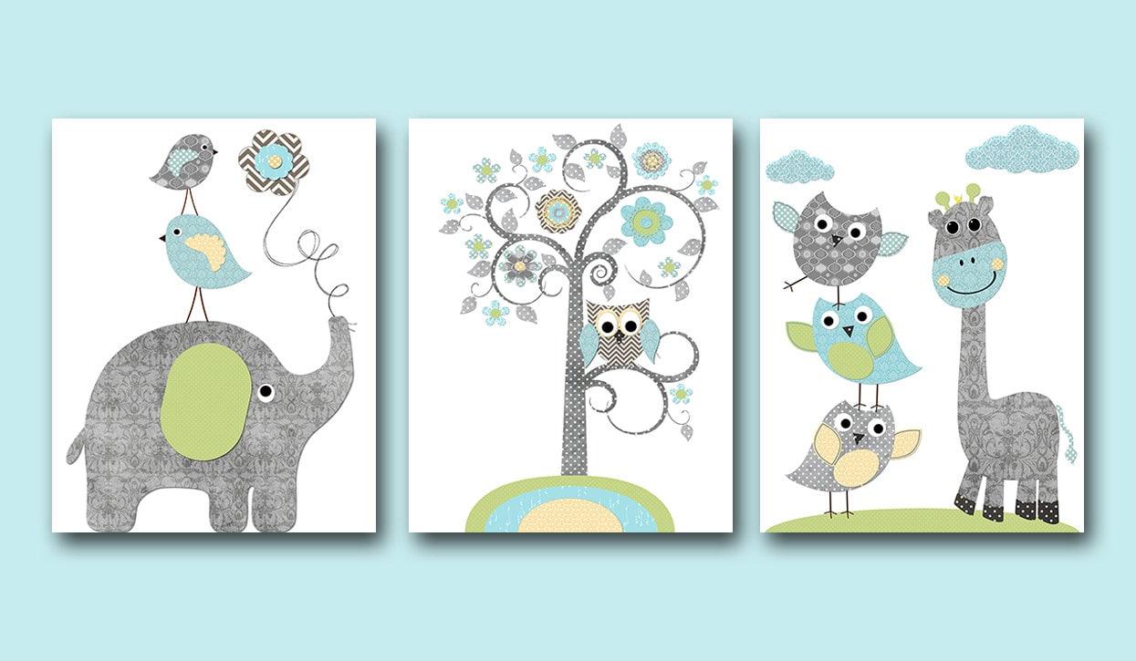 blue grey green yellow owl elephant giraffe decor canvas. Black Bedroom Furniture Sets. Home Design Ideas