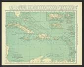 Vintage Map West Indies Caribbean Original 1921