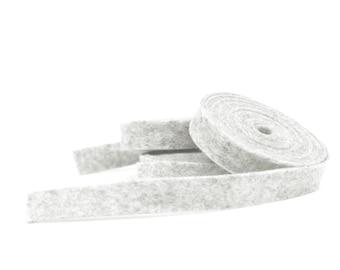 Wool Felt - 100 Percent Wool Felt Ribbon in color HEATHER WHITE - 1/2 Inch X 2 Yards - Merino Wool Felt - Heather Ribbon