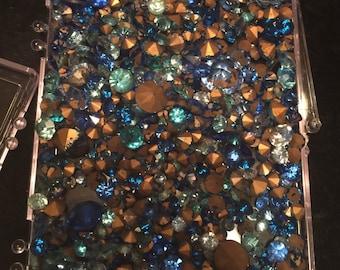 Huge lot of vintage asst. blue rhinestones
