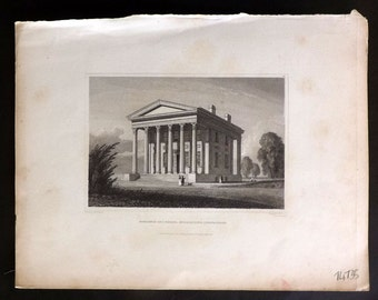 Hinton USA 1832 Antique Print. Residence of S.Russel, Middletown