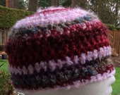 Pink toned fluffy texture crochet beanie hat