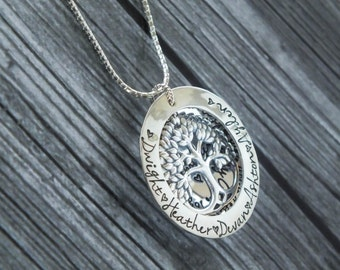 Layered Tree of Life Necklace / Family Tree Necklace / Personalized Tree Locket / Sterling Silver Tree / Our Family is a Circle of Love