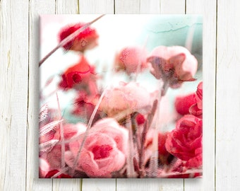 Pink Floral art on canvas - flowers printed on canvas - Home decor