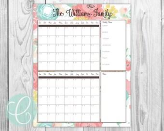 Calendar - Printable Vertical 16x20 Dry Erase Double Calendar
