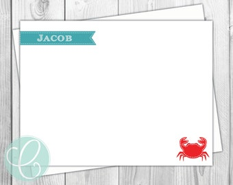 Boys Stationery - Crab Flat Note Cards- Set of 12 - Personalized Nautical Beach Coastal