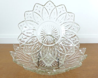Large Federal Glass petal pattern tiered bowls with holes for insert or stand