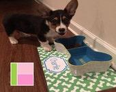Monogrammed Pet Mat Personalized Dog Food Mat Custom Dog Placemat Laminated Pet Mat Choose Colors