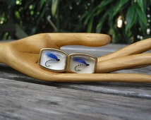 Vintage 50's Anson Blue Fly Fishing Lure Cufflinks