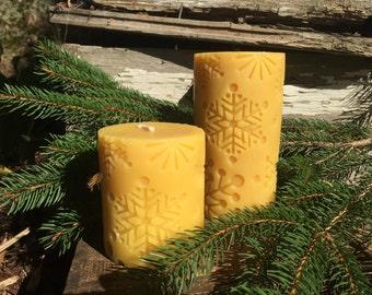 Snowflake Beeswax Pillar Candle