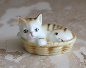 Bone china cat figurine - LEGO bone china kitten - small bone china cat in basket - LEGO bone china cat - kitten in basket - crazy cat lady