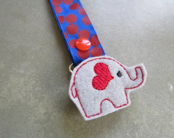 Pacifier Leash Paci Clip - Elephant with Red Heart Ear Feltie Metal Pacifier Clip