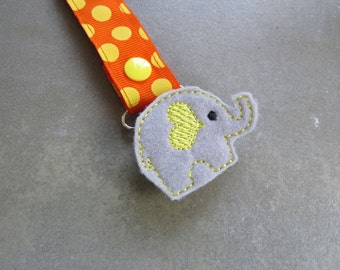 Pacifier Leash Paci Clip - Elephant with Yellow Heart Ear Feltie Metal Pacifier Clip