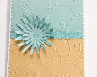 Hand made cards: Stampin Up handmade card - blue - beige - embossed - daisy - flower card  - birthday card - Happy Birthday - Thank you