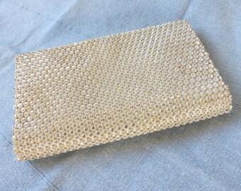Vintage 1950's White Rhinestone Crystal Ivory Satin Envelope Clutch Purse