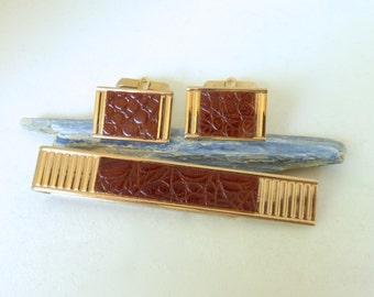Vintage Men's 1960's Swank Brown Alligator Leather Gold Cufflink and Tie Clip Set