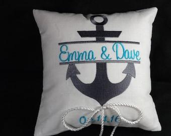 Personalized Anchor Ring Bearer Pillow, ring bearer pillow, wedding pillow, custom, personalized, embroidery, monogram, keepsake
