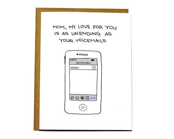 Funny Father's Day card, Mother's Day card, card for dad, mom, long voicemails