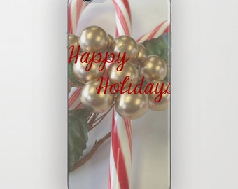 Phone Case - Happy Holidays - iPhone Samsung Galaxy - Hard Plastic Protective - Snow Winter Holiday Lights Christmas