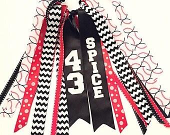 Custom Red and Black Softball Bow, Custom Softball Hair Ribbons, Custom Sport Hair Ribbons, Custom Softbal Hair Ties