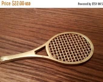 SALE - Brass Tennis Raquet Letter Opener