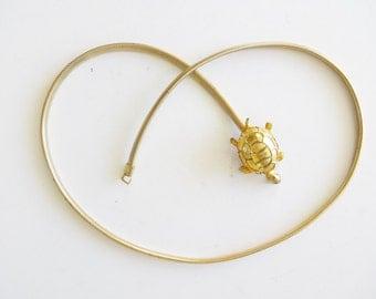 Vintage Gold Turtle Stretch Belt - Women's Small-Medium