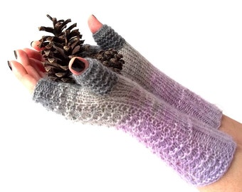 Knit Fingerless Gloves. Lavender and Gray Knit Gloves. Long Gloves. Knitted Wrist Warmers. Knit Arm Warmers. Women Gloves. Hand Knit.