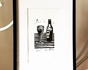 "Vino - Wine Original Linocut 5x7"""