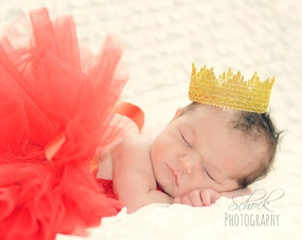 Baby Crown Gold Lace Crown Baby Photo Prop Newborn Golden Crown Baby Girl or Boy Crown Gold Vintage Wedding Cake Topper